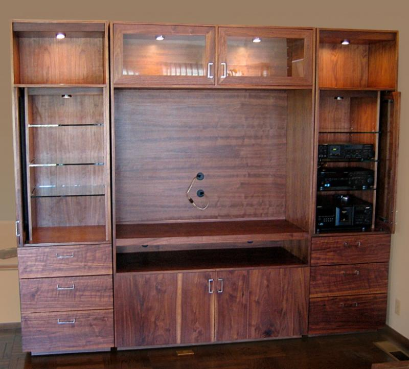 Custom built-in, black American walnut