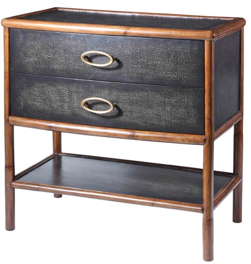 C404-510-1 Worn Black Canvas Night Stand - also in worn ivory