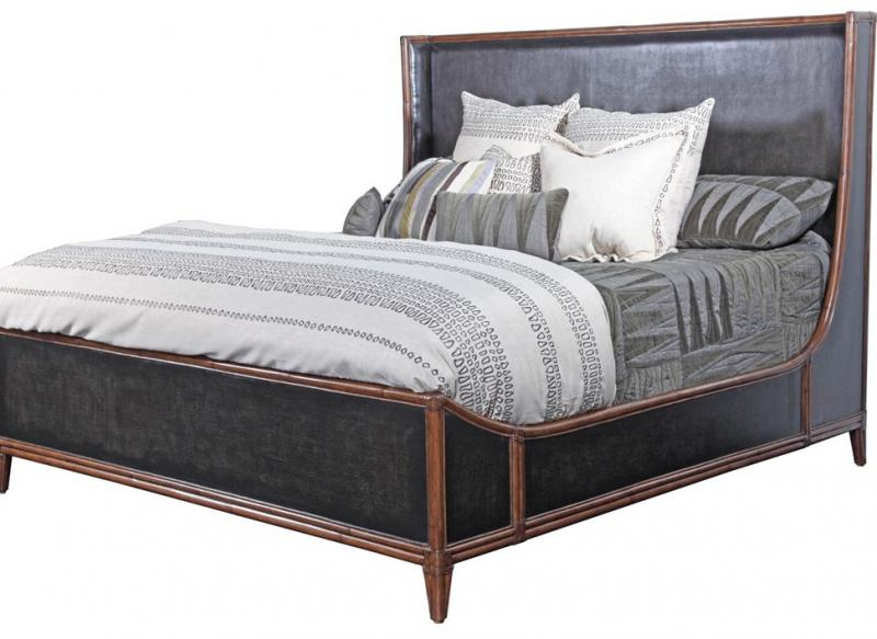 C404-550 Queen Bed Black Worn Canvas