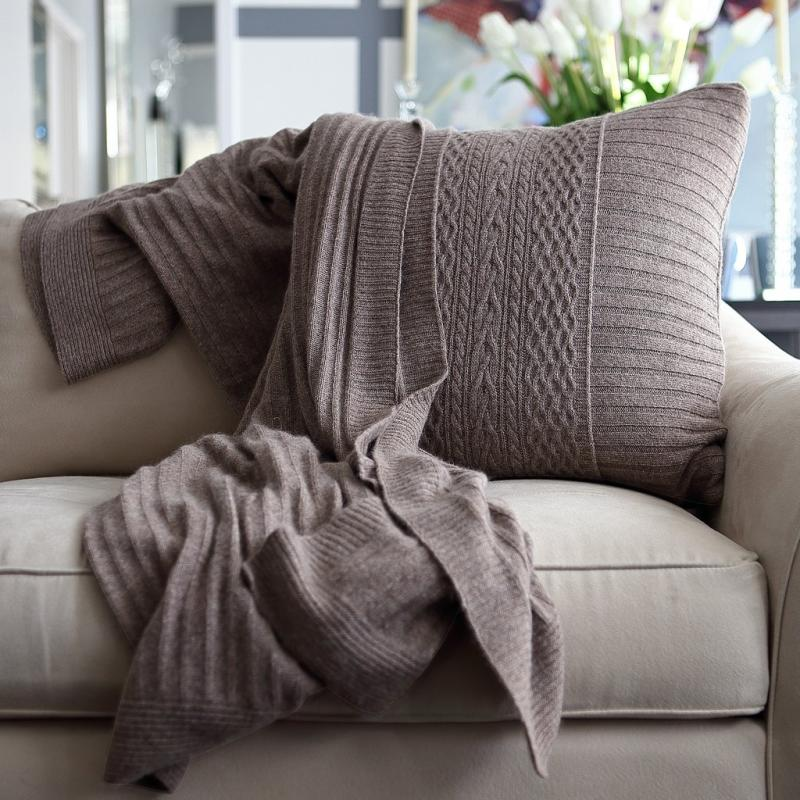 Celestial Rib knit throw and pillow in Dune