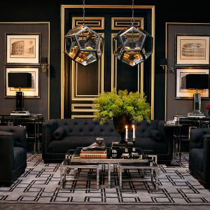 Eichholtz living room in gold and black