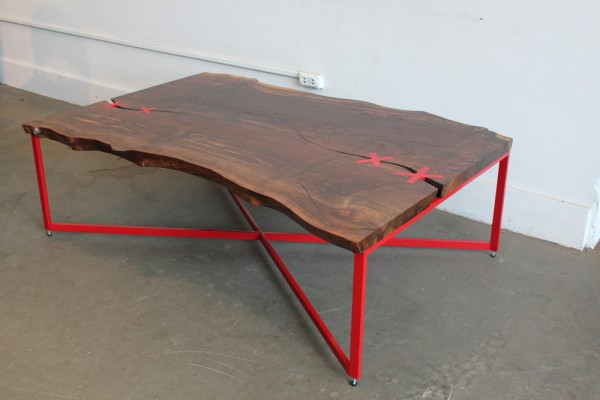 Red live edge cocktail table