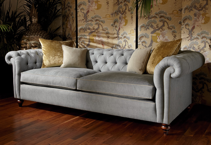 custom sofa, tufted roll over